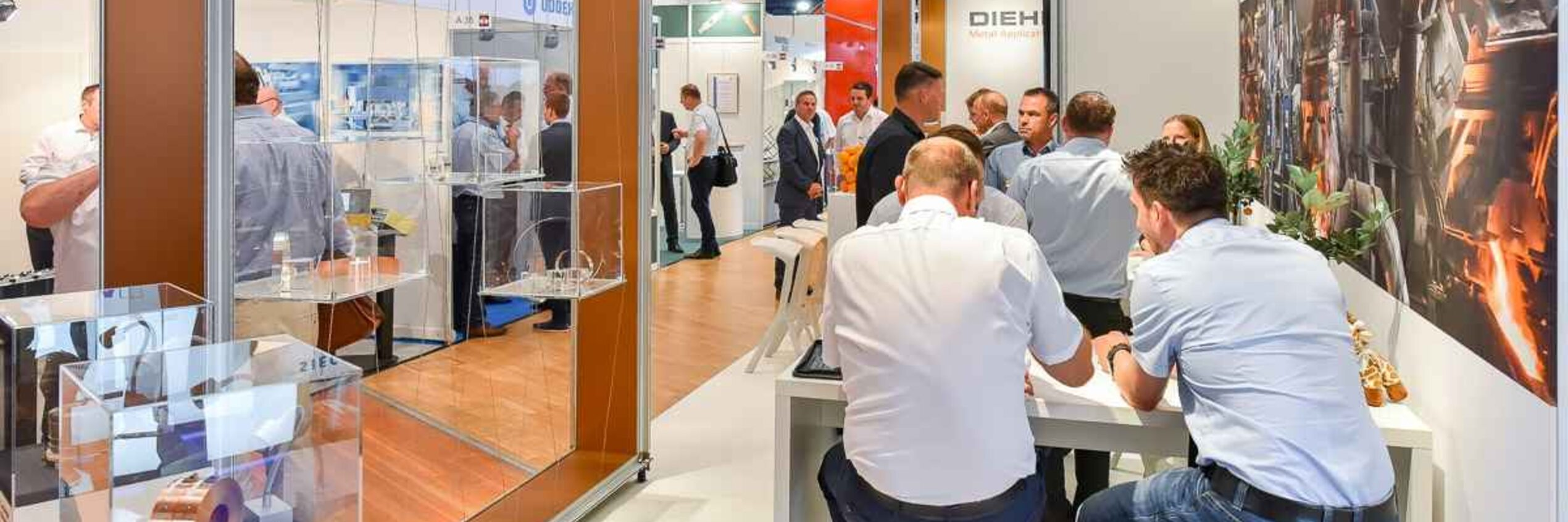 The fair booth, shining in new design, of Diehl Metal Applications and Sundwiger Messingwerk. (Stanztec 2018)